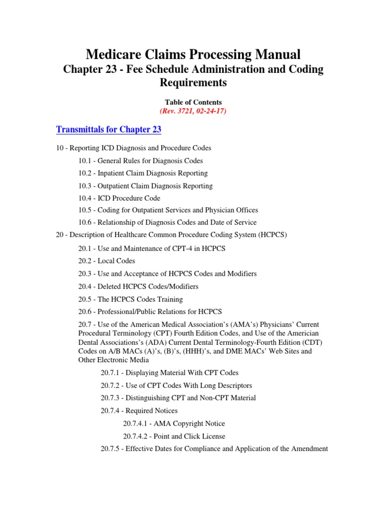 medicare claims processing manual chapter 23 international rh scribd com CMS Manual 100 08 cms carriers manual part 3
