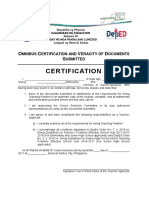 Omnibus Certification and Veracity