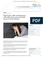 Depression_ 40% of Malaysians Will Suffer From Mental Health Issues in Their Lifetime - Nation _ the Star Online