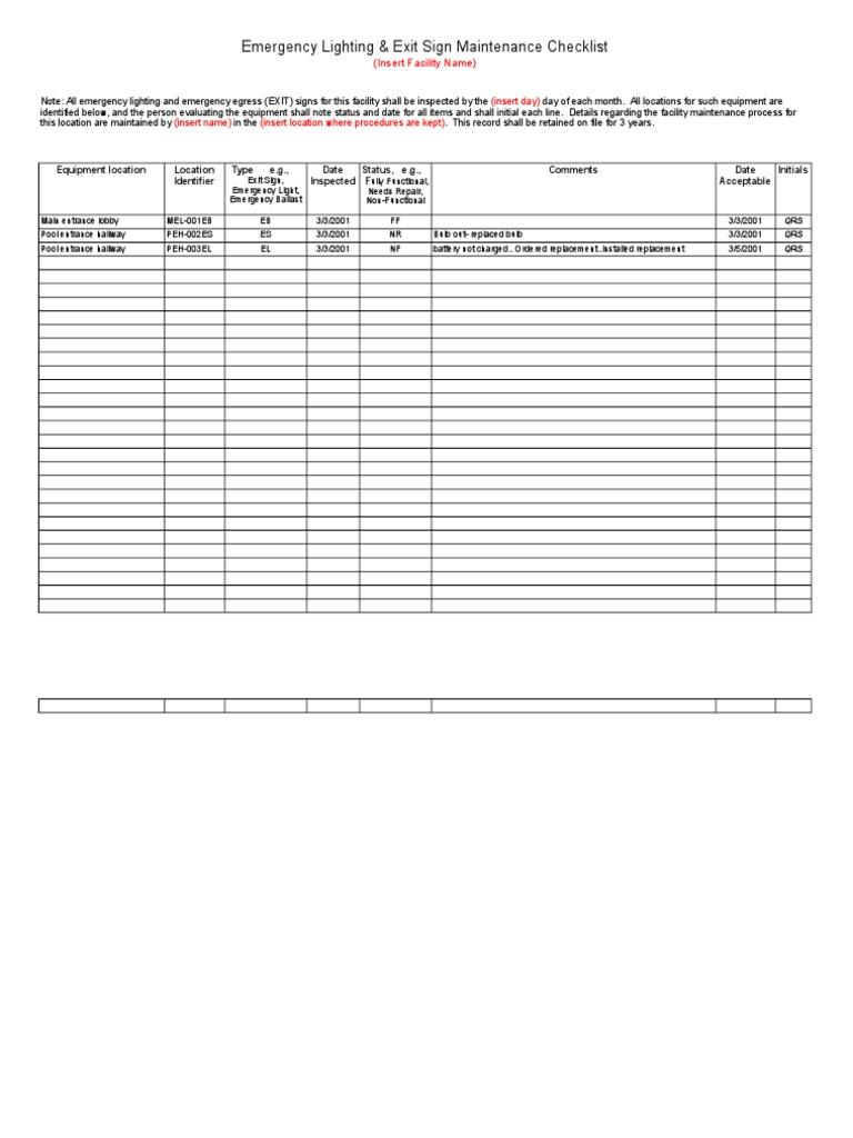 facility maintenance checklist