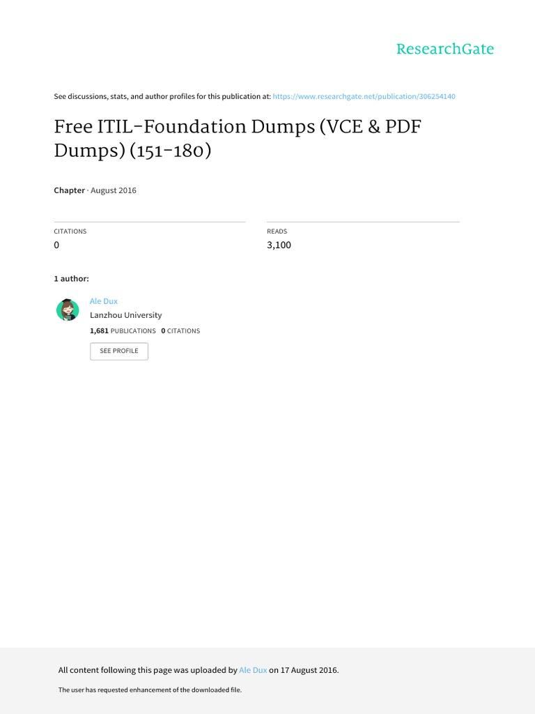 Itil V3 Foundation Dumps 2013 Epub Download