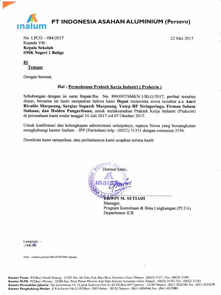 Surat Balasan Pkl Smk 1 Balige