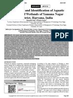 Assessment and Identification of Aquatic Diversity of Wetlands of Yamuna Nagar District, Haryana, India