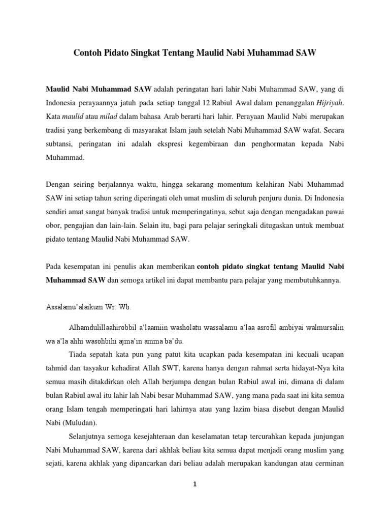 Contoh Pidato Singkat Tentang Maulid Nabi Muhammad SAW | PDF