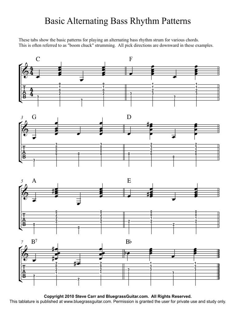 Basic Guitar Rhythm Patterns Booklet String Instruments Musical