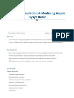 Aspen Hysys Basic Course Outline