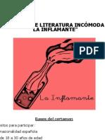 """I PREMIO DE LITERATURA INCÓMODA """"LA INFLAMANTE"""""""