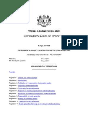 Environmental Quality Scheduled Wastes Regulations 2005 P U A 294 2005 Pdf Waste Management Waste