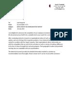 Transmittal Letter for Recommendation Report