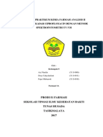 Laporan Praktikum Penetapan Ciprpfloxacin Spektrofotometri Uv-Vis
