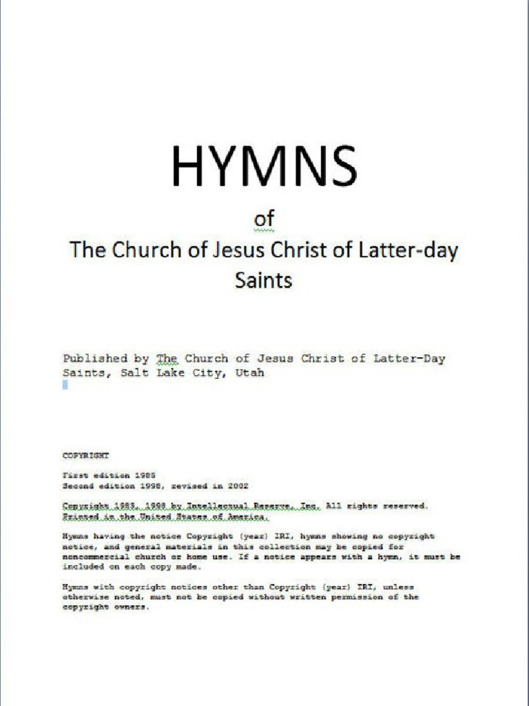 Lds Hymns Church Of Jesus Christ Of Latte Religious Belief And