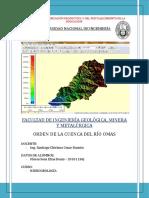 Hidrogelogía - Orden de La Cuenca Del Río Omas
