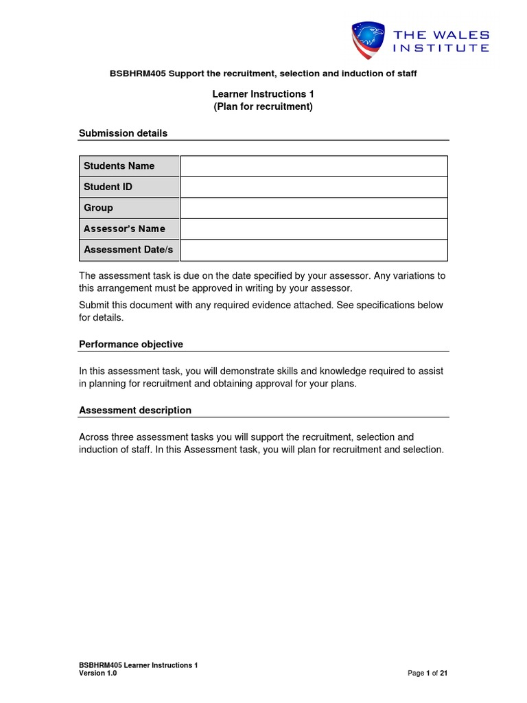 Answers to manage personal work priorities bsbwor501b ebook best 4bhrm405 assessment 1 learner educational assessment recruitment fandeluxe gallery fandeluxe Image collections