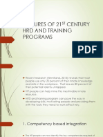 Features of 21st Century Hrd and Training Programs