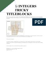 Using Integers for Tricky Titleblocks
