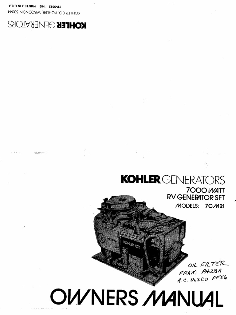 Kohler_Generator Owners Manual