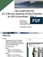 Cis185 ROUTE Lecture6 BGP Part1