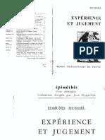 HUSSERL, Edmund. Expérience Et Jugement