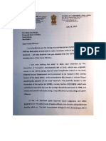 Subramanian Swamy's Letter to PM on Dilution of PC Act July 15, 2017