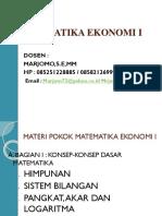 Matematika Ekonomi i Pertemuan Pertama