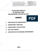 Validation Data of CNV Gas Metering System in 2014
