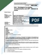 NBR 6484 - sondagens de simples reconhecimento spt - m+®todo de ensaio