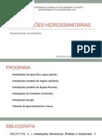 Aula 01_Apresentação Da Disciplia_Instalações Hidrossanitárias