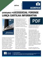 Divulgação da efetivação do Projeto da Cartilha em Ponto Informativo interno.