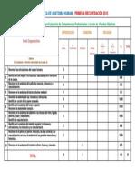 Tabla de Especificaciones Para PRIMERA RECUPERACIÓN 2015 F