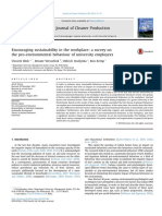Encouraging Sustainability in the Workplace a Survey on the Pro Environmental Behaviour of University Employees 2015 Journal of Cleaner Production