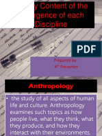 History Content of the Emergence of Each Discipline