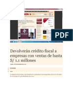 Devolverán Crédito Fiscal a Empresas Con Ventas de Hasta S