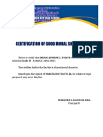 Certification of Good Moral Character