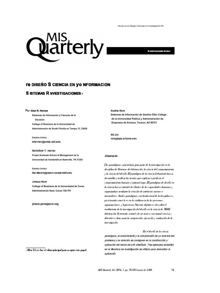 Design Science in Information Systems Research.en.Español