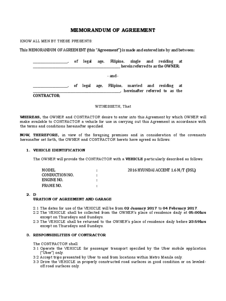 Uber Contract Template Independent Contractor Private Law