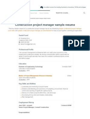 Construction Project Manager Resume Career Faqs Pdf Project Manager Project Management