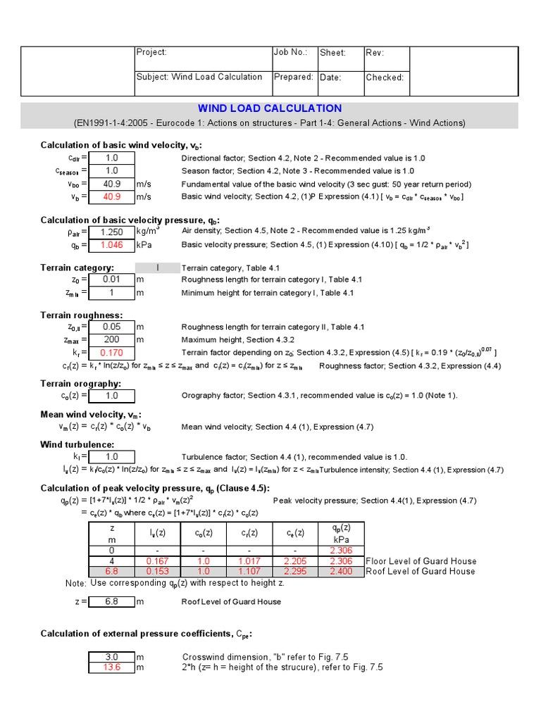 EuroCode - Wind Load Calculation - Part 2 | Windward And Leeward