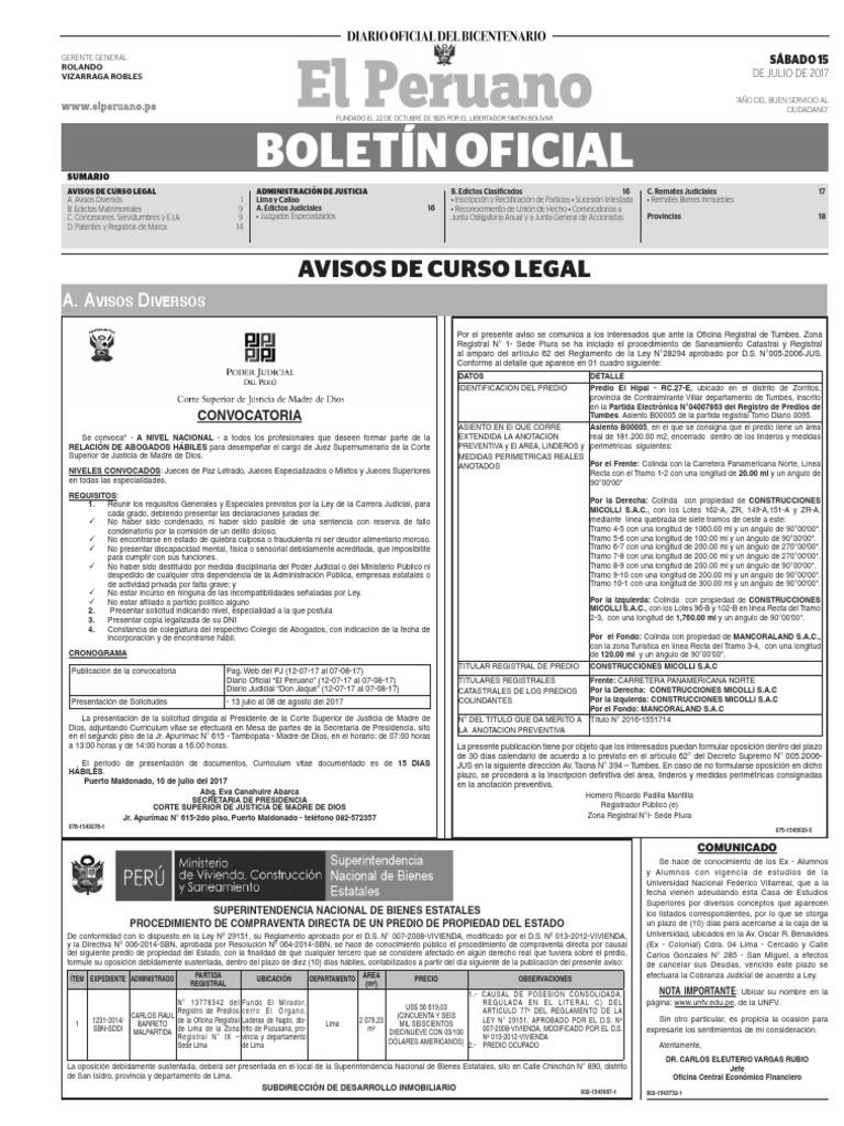 Diario Oficial El Peruano, Edición 9757. 15 de julio de 2017