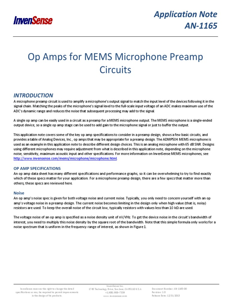 Op Amps For Mems Microphone Preamp Circuits Amplifier Where Can You Find An With A Single Input And What Voltage Operational
