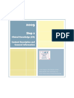 2009 Step 2. Clinical Knowledge (CK) Content Description and General Information
