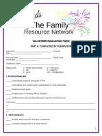 Volunteer and Supervisor Evaluation Form