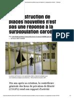 (1) «La construction de places nouvelles n'est pas une réponse à la surpopulation carcérale» - Libération