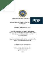 ANÁLISIS COMPARATIVO DE LOS MÉTODOS DE CÁLCULO DEL TIEMPO DE CONCENTRACIÓN EN LA RED DE ALCANTARILLADO DEL CAMPUS UNIVERSITARIO