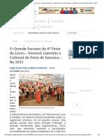 O Grande Sucesso Da 6ª Feira Do Livro – Festival Literário e Cultural de Feira de Santana – Ba 2013 _ _ Jornal Grande Bahia – JGB