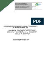 Procedimiento de Corte y Carga de Material Metalico