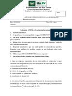 EXERCÍCIOS AVALIATIVOS DE CONDICIONAMENTO DE AR E REFRIGERAÇÃO