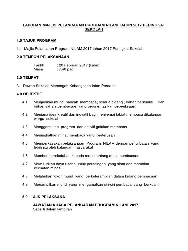 Contoh Laporan Program Nilam