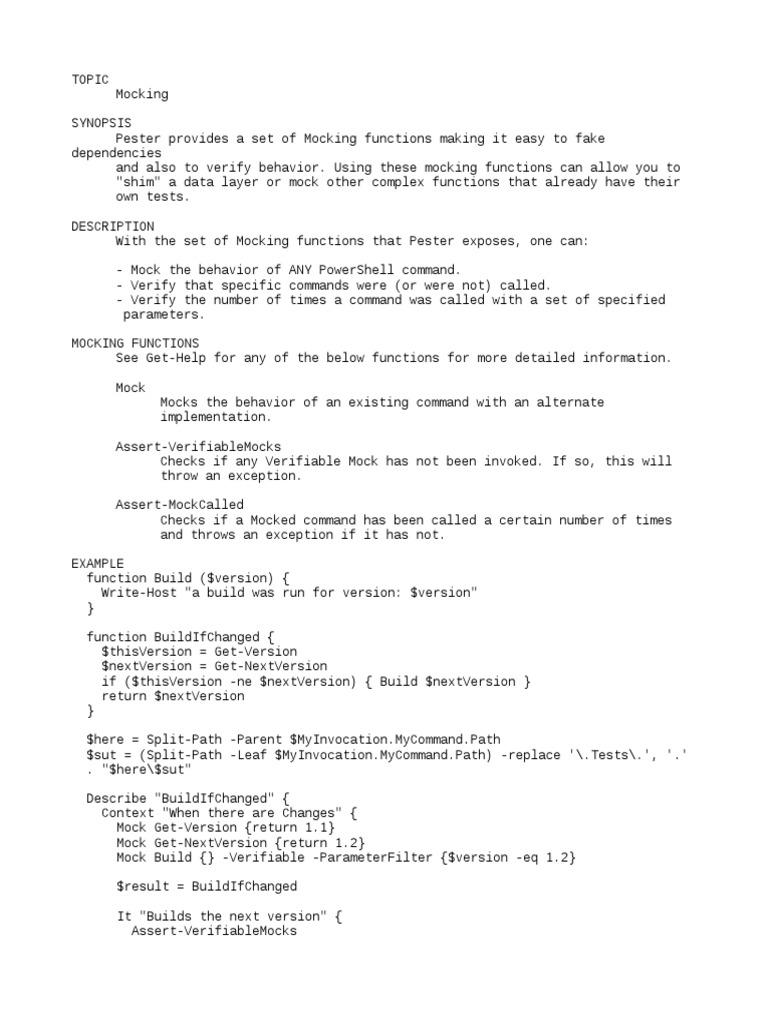about_Mocking help txt | Unit Testing | Parameter (Computer Programming)