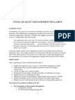 Total Quality Management Syllabus