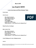 Easy English News Cloze and Quizzes 2016 March
